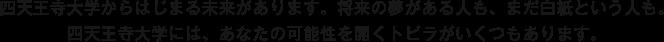 四天王寺大学からはじまる未来があります。将来の夢がある人も、まだ白紙という人も。四天王寺大学には、あなたの可能性を開くトビラがいくつもあります。