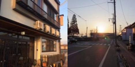 ▲写真は、旅館から小高駅舎に差し込む朝日です。とても輝いて見えました。